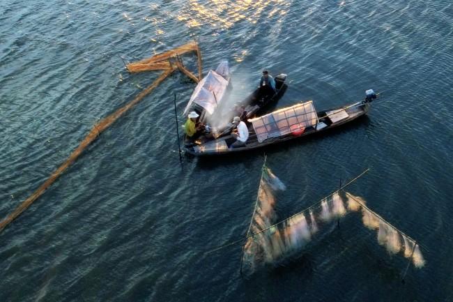 Mùa lưới cá trên đồng nước nổi