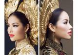 Phạm Hương mang áo dài chim hạc, lá trúc thi Miss Universe