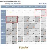 Được nghỉ 7 ngày trong 2 dịp Lễ giỗ Tổ Hùng Vương và 30/4 & 1/5/2016