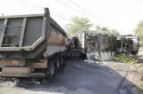 Xe tải đối đầu xe ben 2 người chết cháy