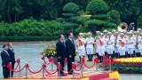 Hình ảnh lễ đón chính thức Tổng thống Pháp Hollande tại Phủ Chủ tịch
