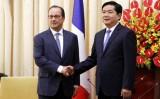 Bí thư Thành ủy Đinh La Thăng tiếp Tổng thống Pháp Francois Hollande