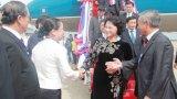 Chủ tịch Quốc hội Nguyễn Thị Kim Ngân đến Thủ đô Vientiane, Lào
