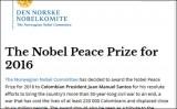 Vì sao Tổng thống Colombia đoạt giải Nobel Hòa bình 2016?