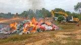 Long An: Tiêu hủy gần 260.000 gói thuốc lá lậu