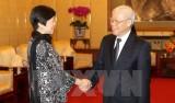 Tổng Bí thư tiếp đoàn Hội Hữu nghị Đối ngoại Nhân dân Trung Quốc
