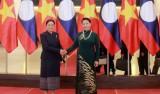 Chủ tịch Quốc hội đón, hội đàm với Chủ tịch Quốc hội Lào