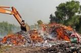 Đức Huệ: Tiêu hủy gần 300 ngàn gói thuốc lá ngoại nhập lậu