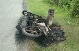 Xe máy cháy trơ khung bên lề đường