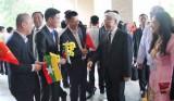 Tổng Bí thư đến Nay Pyi Taw bắt đầu thăm cấp Nhà nước tới Myanmar