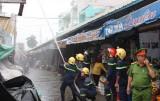 Diễn tập chữa cháy tại chợ Tân An