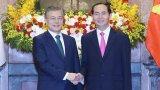 Chủ tịch nước Trần Đại Quang và Tổng thống Hàn Quốc chủ trì họp báo