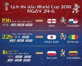 Lịch thi đấu World Cup 2018 ngày chủ nhật 24/6