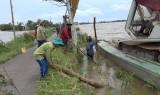 Vĩnh Hưng: Nước lũ làm sạt lở đường giao thông nông thôn