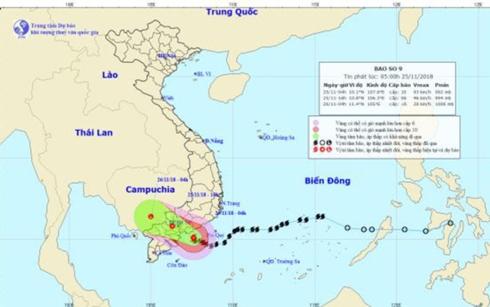 Vị trí và đường đi của cơn bão số 9