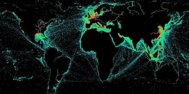 Hình quét các tàu tắt hệ thống phát và nhận tín hiệu GPS trong một tháng. Ảnh: HAWKEYE 360