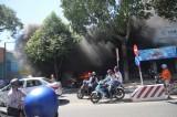 Cháy cửa hàng xe máy ở Mỹ Tho, hàng chục xe bị thiêu rụi
