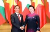 Chủ tịch Quốc hội Nguyễn Thị Kim Ngân hội kiến Tổng thống Myanmar