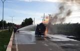 Xe ben và xe bồn đâm nhau gây cháy lớn, hai người tử vong