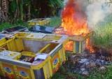 Công an Tân Hưng tiêu hủy tang vật vi phạm hành chính