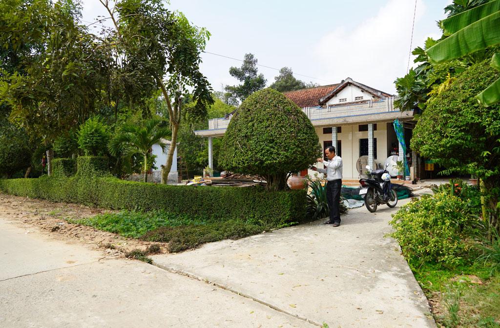 Nhà của một hộ dân tại ấp Bắc Chan 2 làm hàng rào bằng cây xanh