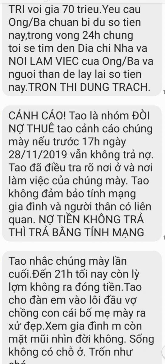 Thời gian qua, gia đình anh Nguyễn Minh Trí thường xuyên nhận được tin nhắn đòi nợ với nội dung khủng bố, đe dọa