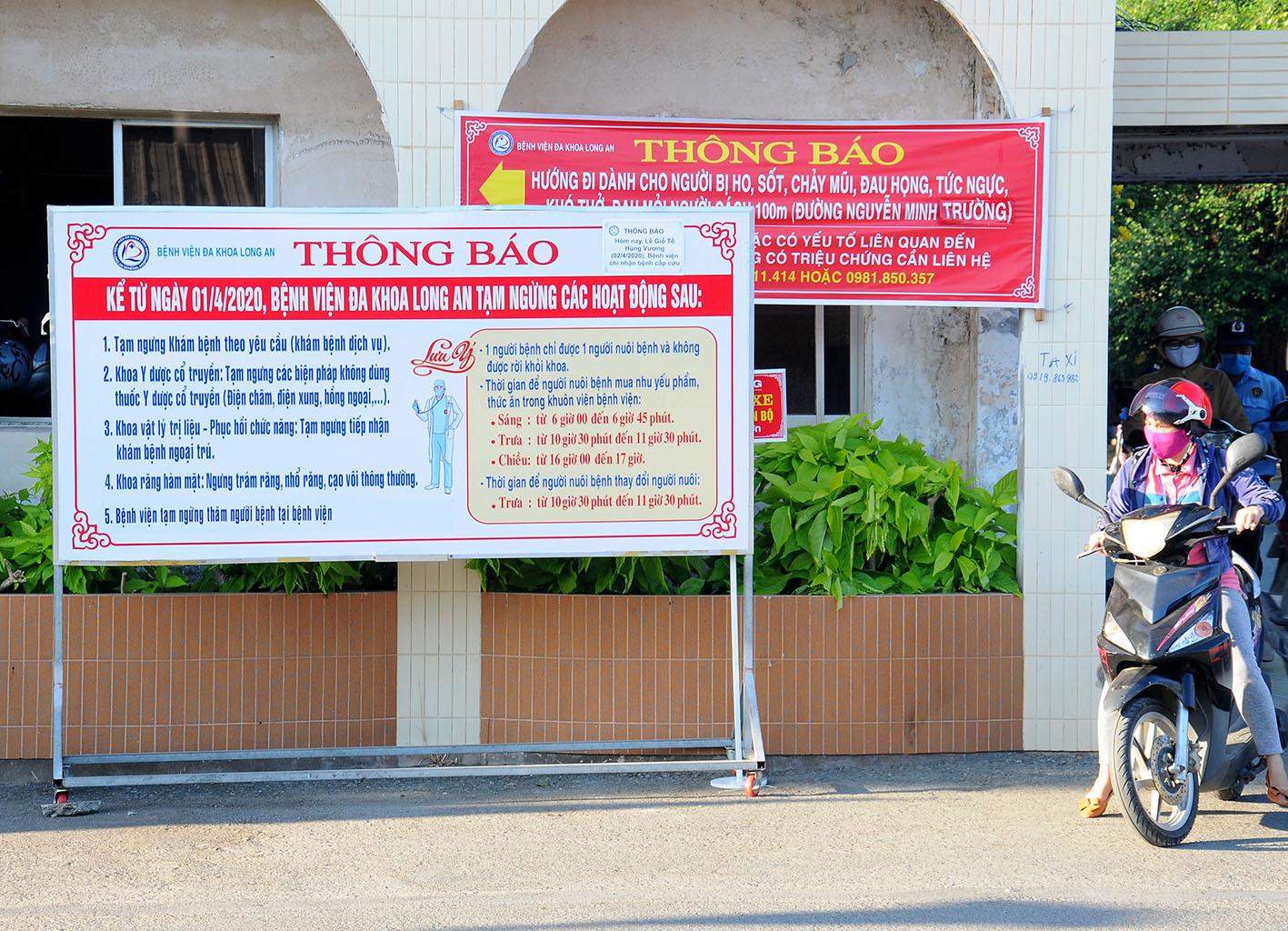 Bệnh viện Đa khoa Long An tạm ngưng hoạt động của Khu Khám bệnh theo yêu cầu