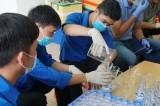 Chi đoàn Trung tâm Phát triển quỹ đất và Dịch vụ tài nguyên, môi trường làm nước rửa tay sát khuẩn
