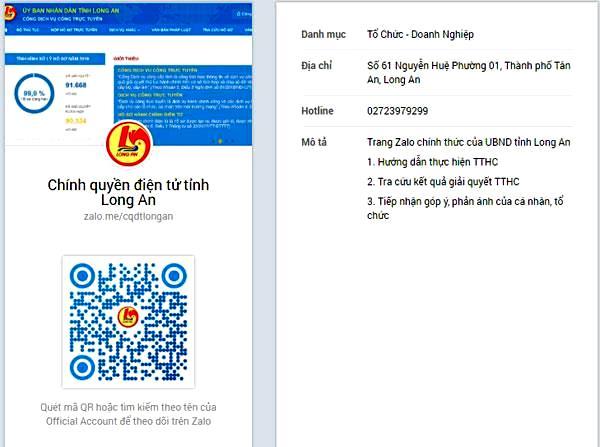 """Kênh Zalo """"Chính quyền điện tử tỉnh Long An"""" có địa chỉ: zalo.me/cqdtlongan"""