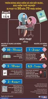 [Infographics] Mức phạt khi trốn đóng bảo hiểm xã hội bắt buộc