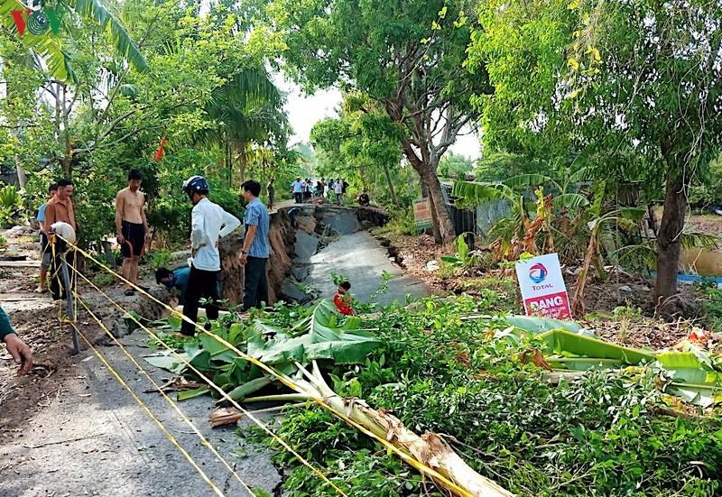 Sụt lún đất tại tỉnh Cà Mau.
