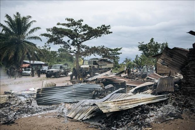 The scene of an attack in Manzalaho village, near Beni, DR Congo, on February 18, 2020. (Photo: AFP)