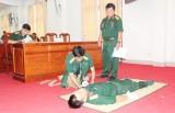 Bộ CHQS tỉnh Long An thực hành 5 kỹ thuật cấp cứu và kiến thức phòng chống dịch Covid-19