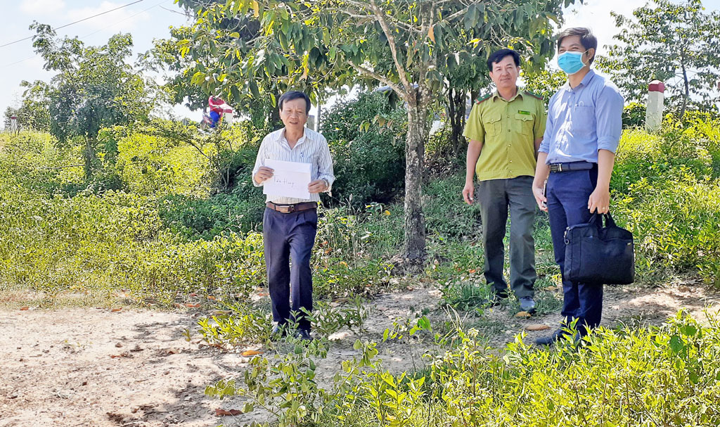 The delegation inspects the reality of the protective forest area at the border line