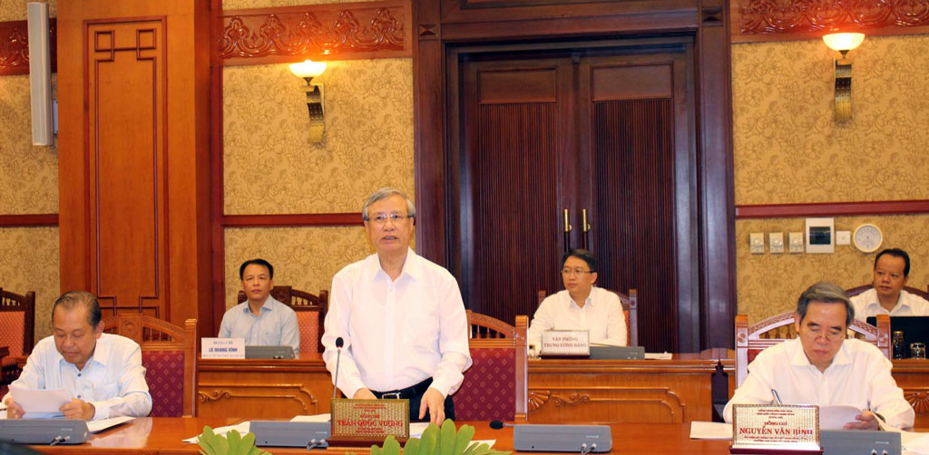 Member of the Politburo, Standing Committee of the Party Central Secretariat - Tran Quoc Vuong chairs the working session with the Standing Committee of Long An Party Committee on commenting the draft document of the XIth provincial Party Congress, term 2020 – 2025
