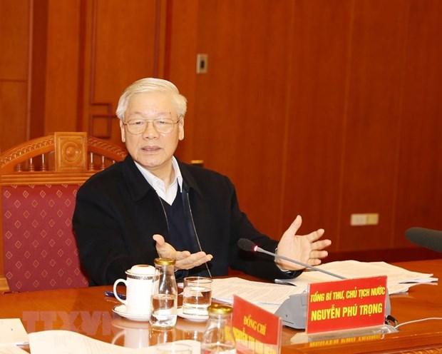 Tổng Bí thư, Chủ tịch nước Nguyễn Phú Trọng, Trưởng Tiểu ban chủ trì họp Tiểu ban Văn kiện Đại hội XIII của Đảng. (Nguồn: TTXVN)