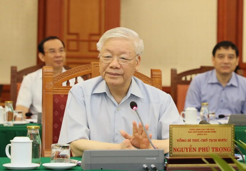 Tổng Bí thư, Chủ tịch nước Nguyễn Phú Trọng phát biểu tại buổi làm việc