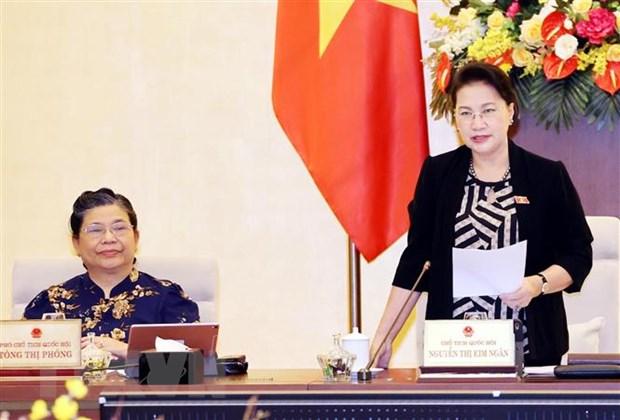 Chủ tịch Quốc hội Nguyễn Thị Kim Ngân chủ trì và phát biểu khai mạc. (Ảnh: Trọng Đức/TTXVN)