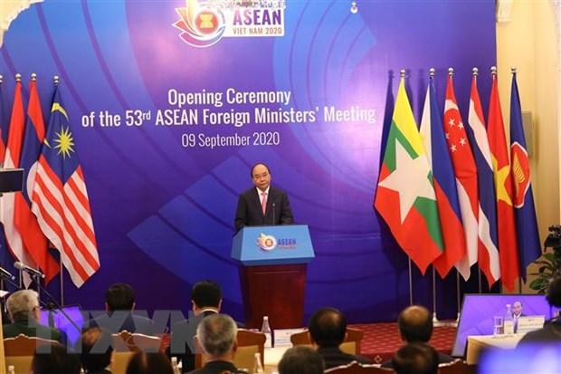 Thủ tướng Nguyễn Xuân Phúc, Chủ tịch ASEAN 2020 phát biểu tại phiên khai mạc AIPA 41. (Ảnh: Lâm Khánh/TTXVN)