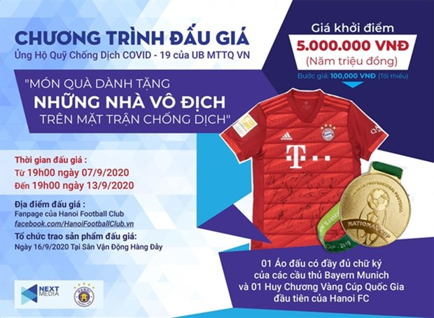 Next Media and Hanoi FC have launched an auction programme to support the fight against the COVID-19. (Photo: nld.com.vn)