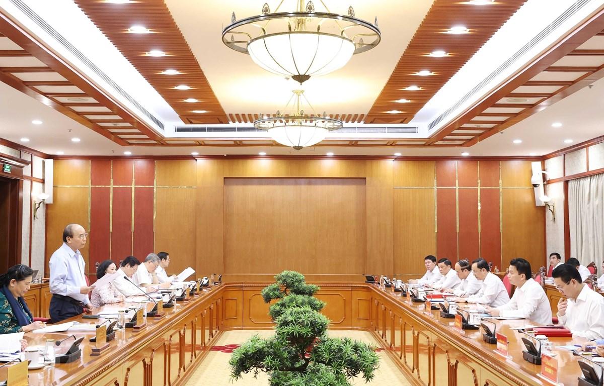 Đồng chí Nguyễn Xuân Phúc, Ủy viên Bộ Chính trị, Thủ tướng Chính phủ phát biểu tại cuộc làm việc với Ban Thường vụ Tỉnh uỷ Hà Giang. (Ảnh: Thống Nhất - TTXVN)