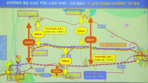 Mekong Delta authorities have suggested three route plans for construction of the Can Tho - Ca Mau expressway. (Photo courtesy of sggp.org.vn)