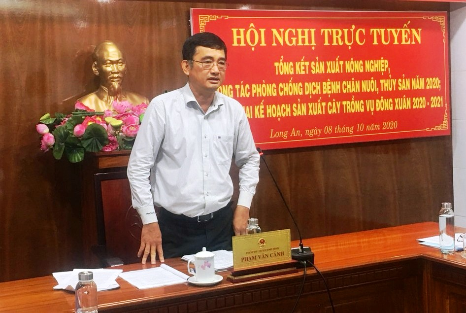 Vice Chairman of the Provincial People's Committee - Pham Van Canh suggests the agriculture sector and the localities to implement measures to cope with the risk of drought, water shortage and salinity intrusion in the dry season 2020-2021