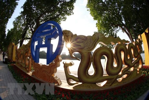 Biểu trưng chào mừng 1.010 năm Thăng Long-Hà Nội. (Ảnh: Hoàng Hiếu/TTXVN)