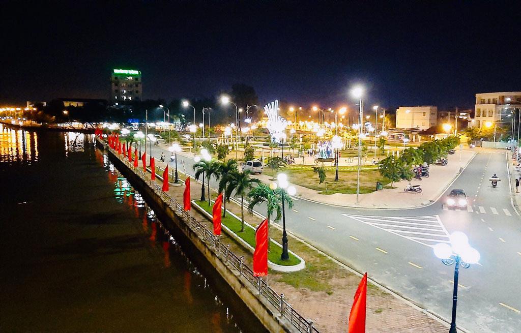 Sparkling street at night