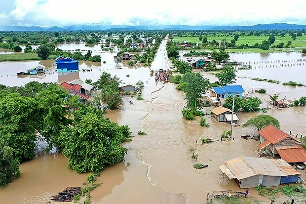 A flooded area in Cambodia's Battambang province on October 10 (Photo: AFP/VNA)