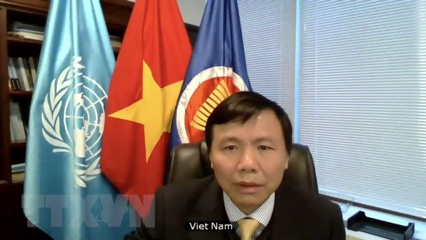 Ambassador Dang Dinh Quy joins the UNSC's meeting via video teleconference. (Photo: VNA)