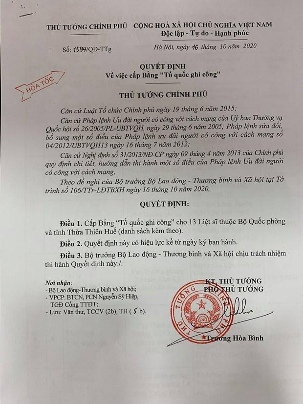 """Quyết định cấp Bằng """"Tổ quốc ghi công"""" cho 13 Liệt sĩ thuộc Bộ Quốc phòng và tỉnh Thừa Thiên-Huế."""