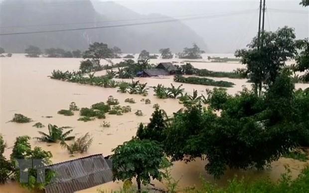 Mưa lũ gây ngập lụt ở Quảng Bình. (Ảnh: Đức Thọ/TTXVN)