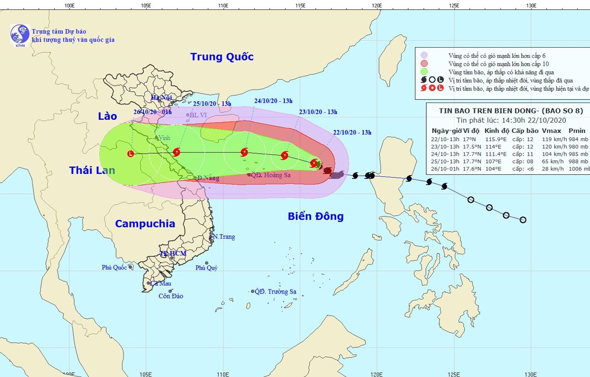 Hình ảnh và đường đi của bão số 8. (Nguồn: nchmf.gov.vn)